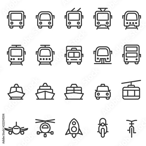 Fotografia, Obraz  Public transport vector outline style icon set