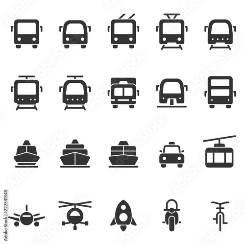 Fotografija  Public transport vector shape style icon set