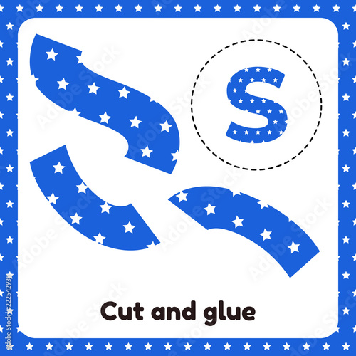 Fototapeta Vector illustration. A game for children of preschool and school age. Cut out and glue. The letter of the English alphabet S. Blue background with white stars. obraz na płótnie