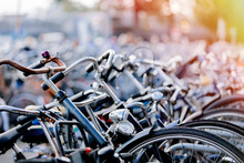A Lot Of Bikes On Parking In Amsterdam, Netherlands
