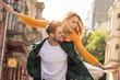 Leinwanddruck Bild - Smiling beautiful couple dating outdoors.