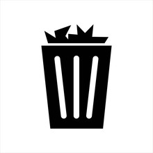 Trash Can Full Icon. Black Isolated Object
