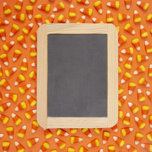 Halloween Candy Corn Background With A Chalkboard