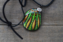 Painted Granite Rock Pendant Crafted By Indigenous Taiwanese