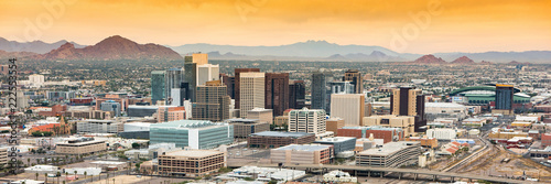 Spoed Foto op Canvas Arizona Panoramic aerial view over Downtown Phoenix, Arizona