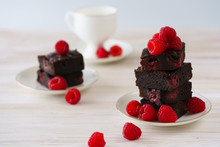 Raspberry Brownies Stack On A ...
