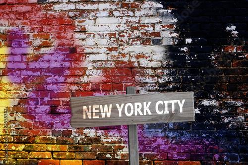 Fotografía  New York City sign on graffiti background