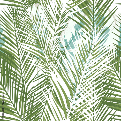 Ingelijste posters Tropische Bladeren Floral tropical vector pattern with green palm plants and leafs