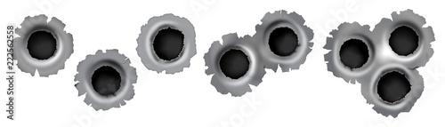 Fotografia, Obraz Bullet impact on metal in vector format