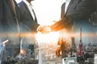 canvas print picture - Double exposure Business People Handshake Meeting