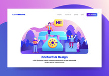 Landing Page Template Of Contact Us. Modern Flat Design Concept Of Web Page Design For Website And Mobile Website.Vector Illustration