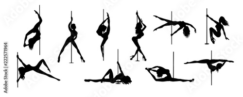 Papel de parede set of vector silhouette of girl and pole on a white background