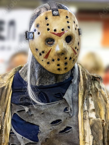 Fotografie, Obraz  man with mask at an exhibition of cosplay
