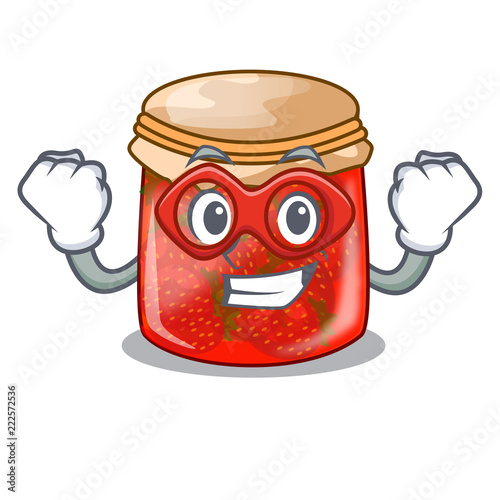 Fotografija  Super hero strawberry marmalade in glass jar of cartoon