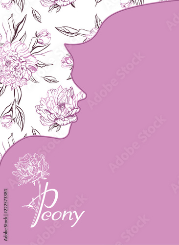 Peony Beauty Salon Banner For Beauty Salon Hotel Salon Beauty Resort And Spa Design With Illustration Of Young Girl Against A Background Of Peony Flowers Negative Space Trend Buy This