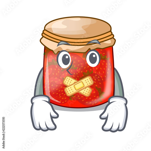 Silent strawberry jam glass isolated on cartoon Slika na platnu