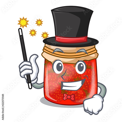 Fotografija  Magician strawberry jam glass isolated on cartoon