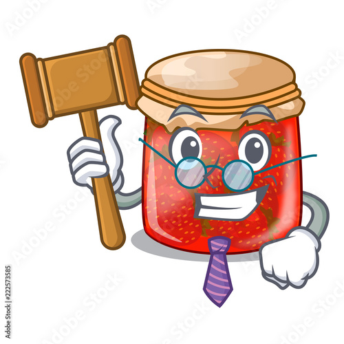 Fotografija  Judge strawberry jam glass isolated on cartoon
