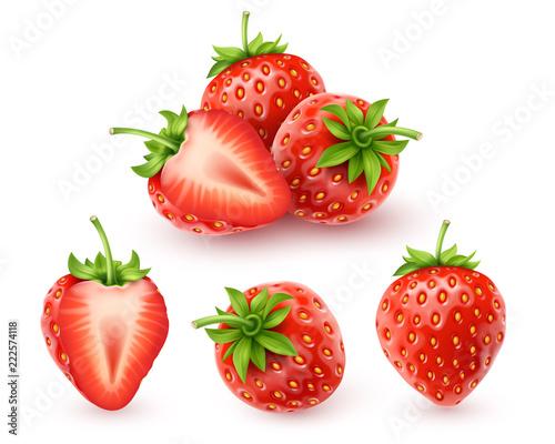 Fototapeta Strawberry realistic icon obraz