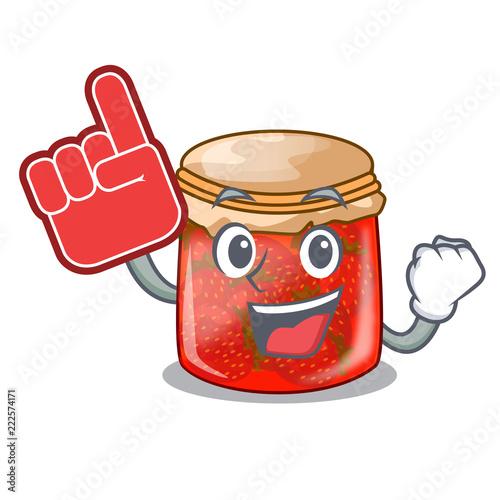 Fotografija  Foam finger strawberry jam glass isolated on cartoon