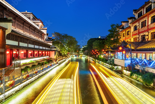 Tuinposter Historisch geb. Nanjing Confucius Temple night view