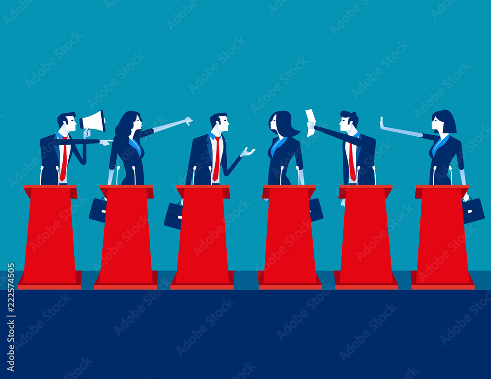 Fototapety, obrazy: Politicians participating in political debate. Concept business team vector illustration, Teams, Debate, Meeting.
