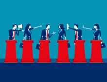 Politicians Participating In Political Debate. Concept Business Team Vector Illustration, Teams, Debate, Meeting.