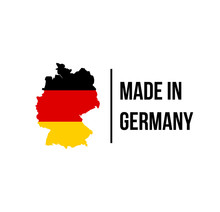 Made In Germany Icon With German Flag Map