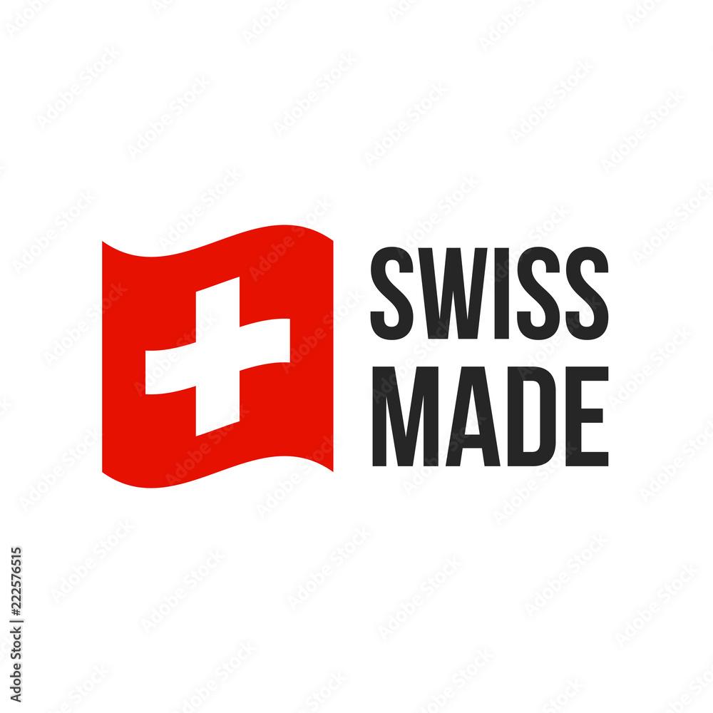 Fototapeta Swiss made vector Switzerland flag seal icon