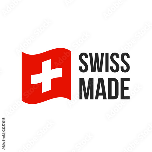 Fotografie, Obraz Swiss made vector Switzerland flag seal icon