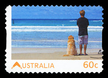 AUSTRALIA - CIRCA 2011: Stamp Printed In Australia Dedicated To Living Australian, Shows Young Man With His Dog Watching The Sea, Circa 2011