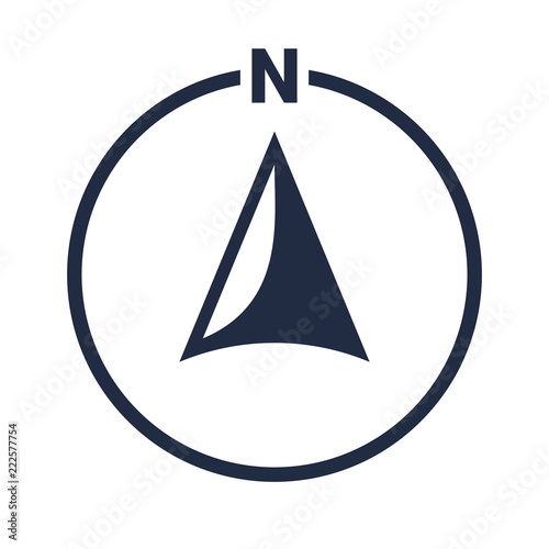 Photographie North arrow icon N direction vector point symbol