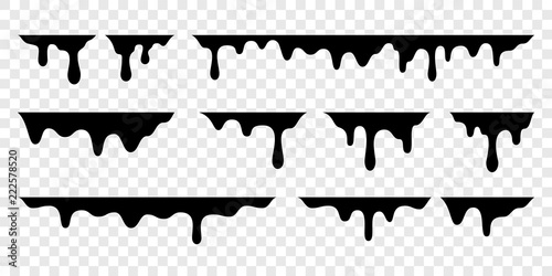 Fotografija Black melt drips or liquid vector paint drops
