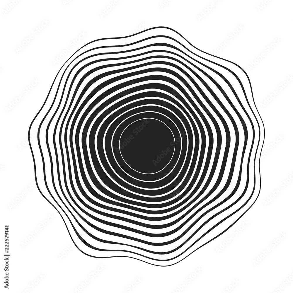 Fototapety, obrazy: black concentric wavy lines that makes a rounded abstract organic shape