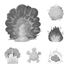 Different Explosions Monochrome Icons In Set Collection For Design.Flash And Flame Vector Symbol Stock Web Illustration.