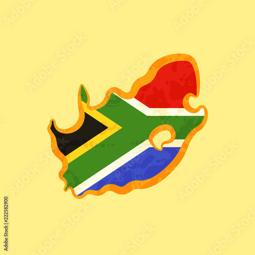 Fotografie, Obraz South Africa - Map colored with South African flag