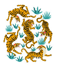 Vector Set Of Tigers And Tropi...