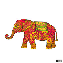 Indian Elephant In Floral Patterns.
