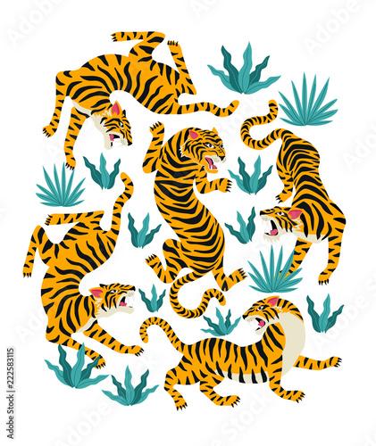 Fototapeta premium Wektor zestaw tygrysów i liści tropikalnych. Modna ilustracja.