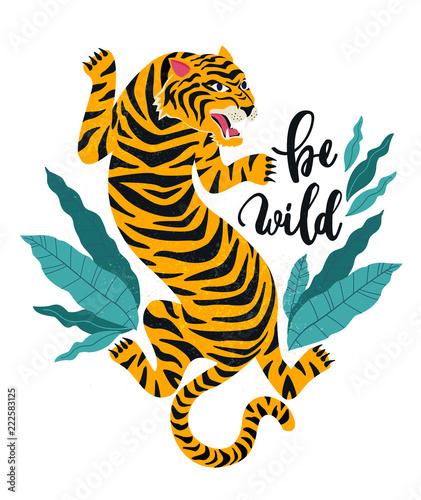 Fototapeta premium Bądź dziki. Ilustracja wektorowa tygrysa z tropikalnymi liśćmi. Modny design na karty, plakaty, koszulki i inne zastosowania.