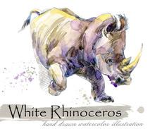 Rhinoceros Hand Drawn Watercol...