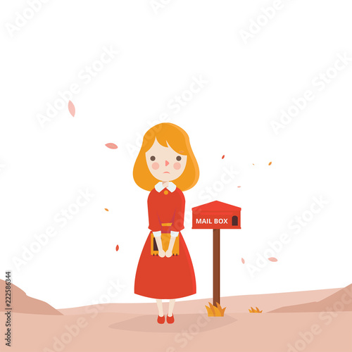 Waiting For Mail >> Red Girl Waiting Mail With Mail Box Character Vector Illustration