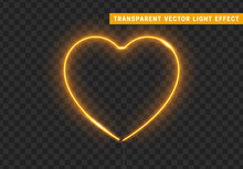 Neon Light Gold Heart With Transparent Background.