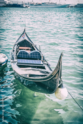 Historical gondola in harbor, Split, analog filter