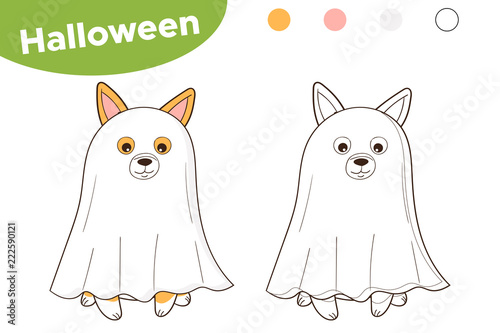 Halloween Coloring Page For Kids Cute Cartoon Dog Dressed Up As A Ghost Vector Illustration Stock Vector Adobe Stock
