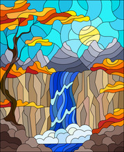Illustration In Stained Glass Style Landscape ,the Tree On The Background Of A Waterfall, Mountains, Sun And Sky,autumn Landscape