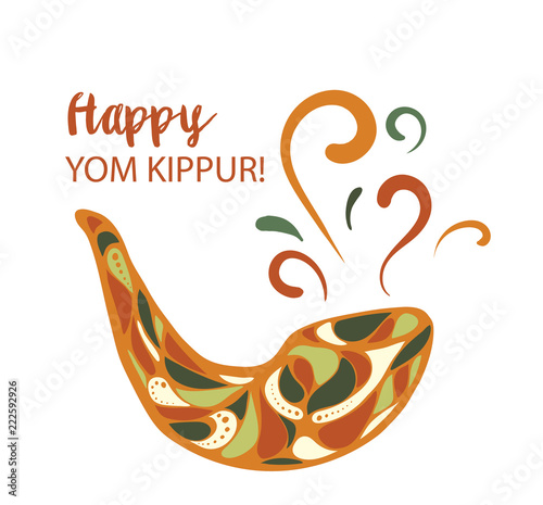 Vector illustration of Happy Yom Kippur background with shofar Canvas-taulu