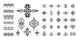 Set of decorative Ethnic elements isolated on white background.