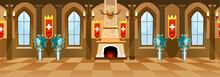 Cartoon Castle Hall With Knigh...