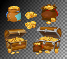 Casino And Game Cartoon 3d Money Icons. Gold Coins In Moneybags And Chests..Game Design Money Items. Gold Coins On Transparent Background.